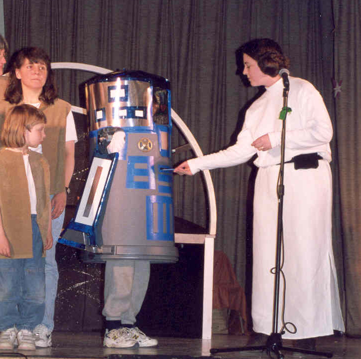 Princess Leia gives the Death-Star plans to R2-D2